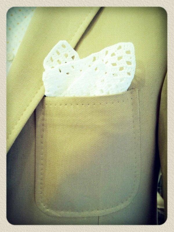 Giacca sartoriale in cotone Ermenegildo Zegna ~ Sartoria Scavelli ~ tasca impunturata con pochette fatta all'uncinetto.