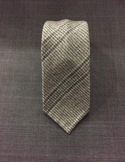 Cravatta cashmere regimental grigio